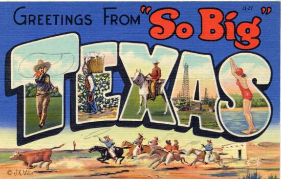 Greetings from 'So Big' Texas, a large letter postcard with views of the state in each letter, 1937. A scene of cowboys roping cattle is in the background. (Photo by Lake County Museum/Getty Images) Photo: Getty Images