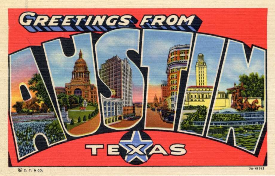 Greetings from Austin, Texas, a large letter postcard of Austin, Texas showing views of the city in each letter, 1937. (Photo by Lake County Museum/Getty Images) Photo: Getty Images