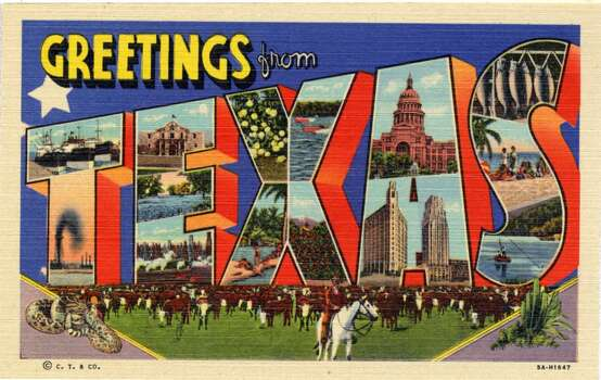 Greetings from Texas, a large letter postcard of Texas showing views of the state in each letter, 1935. A cattle roundup is in the background. (Photo by Lake County Museum/Getty Images) Photo: Getty Images