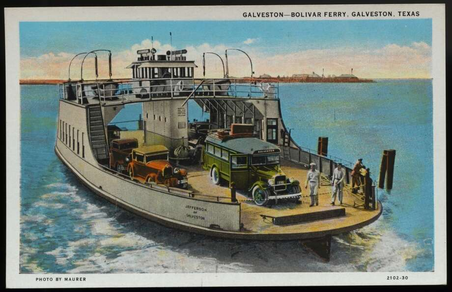 UNSPECIFIED - CIRCA 1930: Postcard of Ferry Crossing Galveston Bay. ca. 1930, GALVESTON-BOLIVAR FERRY, GALVESTON, TEXAS. Galveston-Bolivar Ferry motor coaches cross Galveston Bay on modern ocean-going Highway Ferries. Only fifteen minutes time required in crossing bay. (Photo by LCDM Universal History Archive/Getty Images) Photo: Getty Images