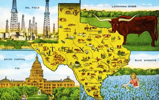 UNITED STATES - CIRCA 1940:  Color postcard with a map of the state of Texas, It highlights several scenes and vistas particular to the state, The postcard was published by E,C, Kropp Company of Milwaukee  (Photo by Transcendental Graphics/Getty Images) Photo: Getty Images