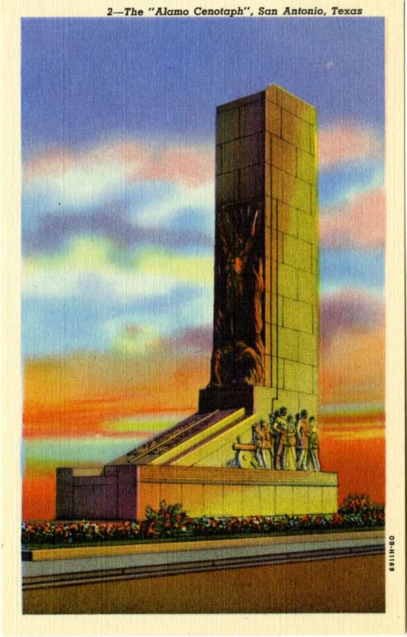 UNITED STATES - CIRCA 1940:  Postcard view of the Alamo Cenotaph memorial to the Alamo dead shows the marble and granite monument.  (Photo by Lake County Museum/Getty Images) Photo: Getty Images