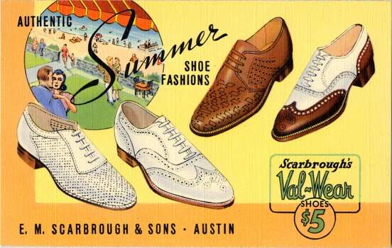 UNITED STATES - CIRCA 1940:  Postcard advertisement for shoes showing four styles of shoes and an inset image of people dancing on a patio by a beach.  (Photo by Lake County Museum/Getty Images) Photo: Getty Images