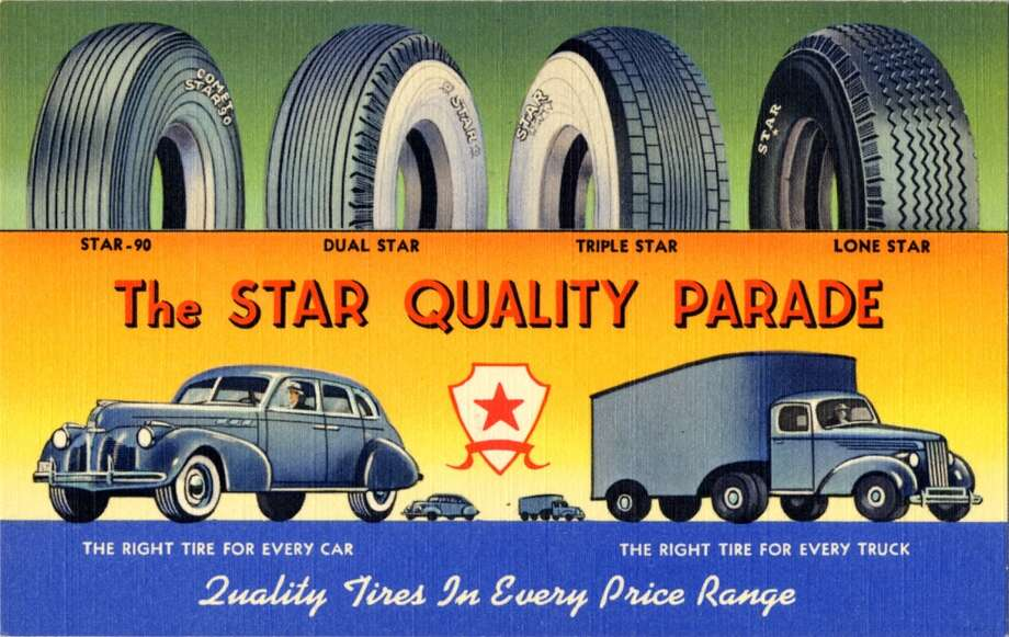 UNITED STATES - CIRCA 1940:  Postcard advertisement for Star Quality Tires showing four styles of tires and two each large and small cars and trucks.  (Photo by Lake County Museum/Getty Images) Photo: Getty Images