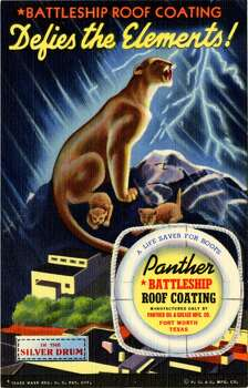UNITED STATES - CIRCA 1941:  Postcard advertisement for Panther Battleship Roof Coating showing a panther on top of a mountain with her cubs. Lightening strikes in the background.  (Photo by Lake County Museum/Getty Images) Photo: Getty Images