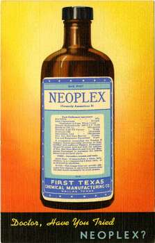 UNITED STATES - CIRCA 1942:  Postcard advertisement for Neoplex vitamin supplement showing the bottle and label.  (Photo by Lake County Museum/Getty Images) Photo: Getty Images