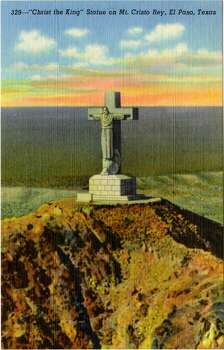 UNITED STATES - CIRCA 1943:  Postcard view of the statue of Christ on top of Mt. Cristo Rey. The valley below is visible.  (Photo by Lake County Museum/Getty Images) Photo: Getty Images