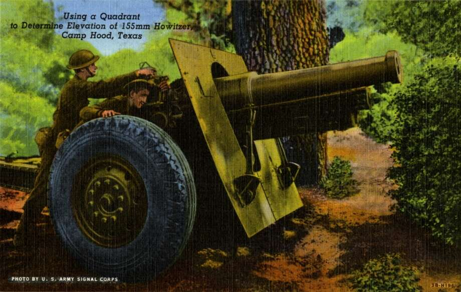 UNITED STATES - CIRCA 1943:  Postcard view showing two soldiers using a qudrant in a wooded area.  (Photo by Lake County Museum/Getty Images) Photo: Getty Images