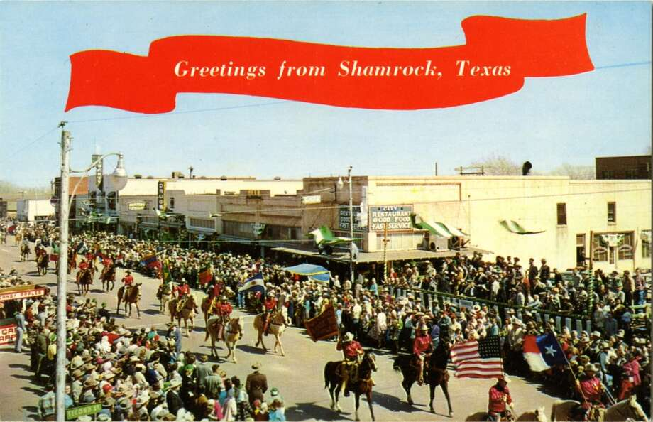 UNITED STATES - CIRCA 1900:  Postcard view of the famous St. Patrick' Day Parade showing the Will Rogers Range Riders. The street is lined with people watching the parade.  (Photo by Lake County Museum/Getty Images) Photo: Getty Images