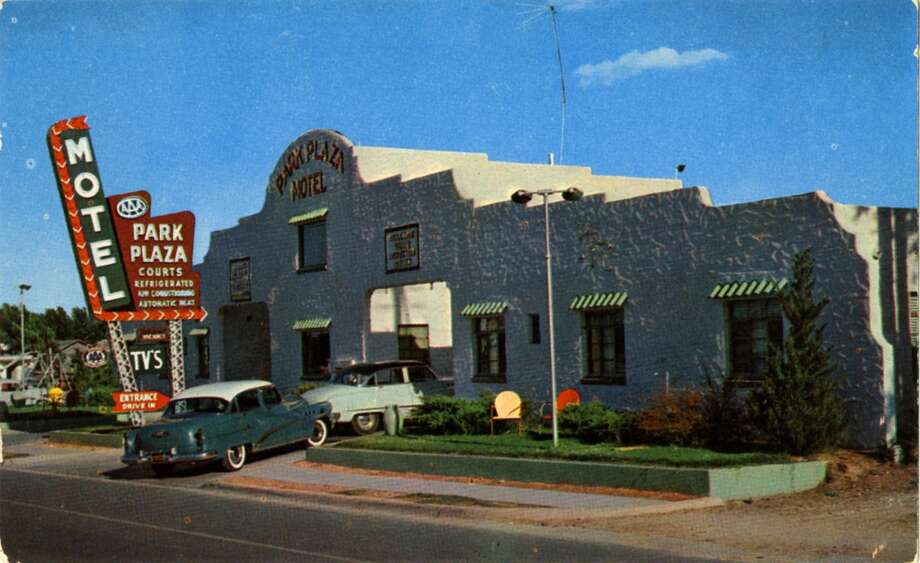 UNITED STATES - CIRCA 1900:  Postcard view of the exterior of the Park Plaza Motel. The building is southwestern style stucco and has a neon sign out in front. Vintage autos are parked at the entrance.  (Photo by Lake County Museum/Getty Images) Photo: Getty Images