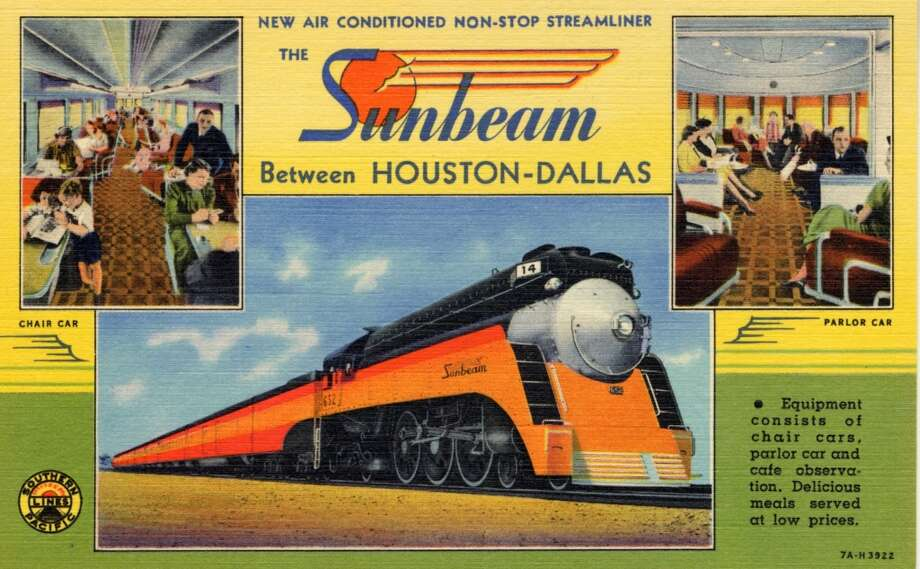 """HOUSTON - 1937:  Vintage postcard showing the train, """"Sunbeam,"""" along with two smaller views of train car interiors. (Photo by Lake County Museum/Getty Images) Photo: Curt Teich Postcard Archives, Getty Images"""