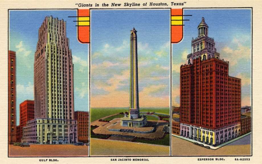 HOUSTON - 1938:  Vintage postcard showing separate views of the Gulf Building, San Jacinto Memorial and Esperson Building. (Photo by Lake County Museum/Getty Images) Photo: Curt Teich Postcard Archives, Getty Images