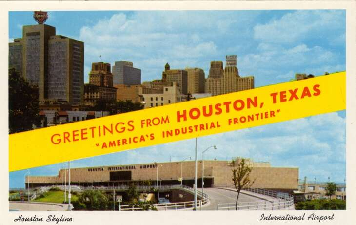 HOUSTON - 1958:  Vintage postcard showing a split view of the Houston Skyline (top) and Houston International Airport (bottom). (Photo by Lake County Museum/Getty Images)