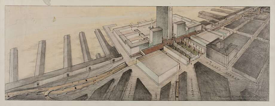 One of William Merchant's early renderings of for the World Trade Center that was proposed for the foot of Market Street in 1951 -- a nine-block project that would have demolished the Ferry Building far beyond today's shoreline into the bay. Photo: CED Visual Resources Center, Courtesy Environmental Design Ar