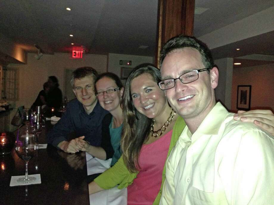 Jason Chukel, Claire Peeke-Vout, Jane King and Tim Cantwell enjoyed drinks at Cava during Dishcrawl in New Canaan Wednesday night. The event, which replaced restaurant week, featured small dishes from four restaurants in town. Photo: Tyler Woods