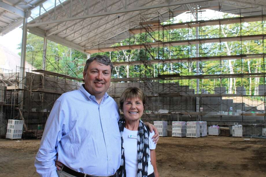 Bill and Bonnie Strittmatter, inside what will soon be the Strittmatter Family Aquatic Center.