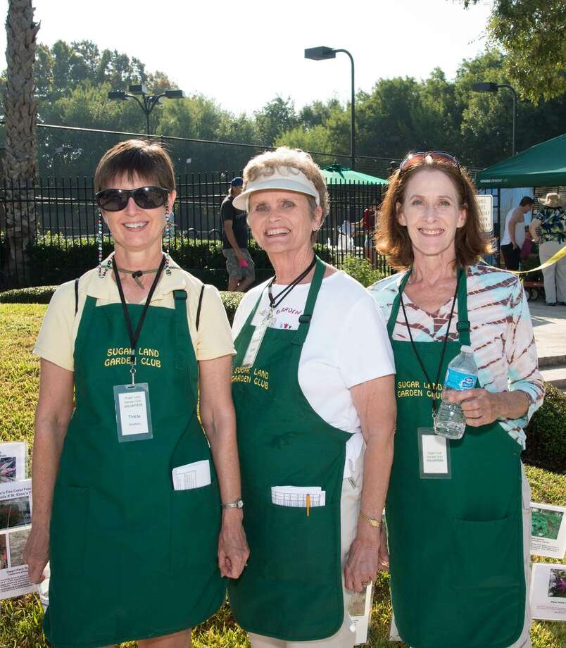 Sugar Land Garden Club members Tricia Bradbury, left, Coeta Presley and Cynthia Frierson will be ready to help shoppers pick out the best plants for their garden.