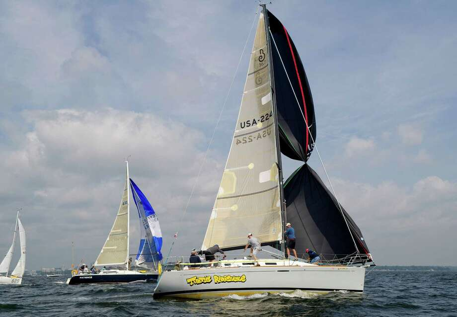 That's Ridiculous of Sound Beach, New York, competes in the 2013 Vineyard Race, which began from Stamford Yacht Club on Friday, August 30, 2013. Photo: Lindsay Perry / Stamford Advocate