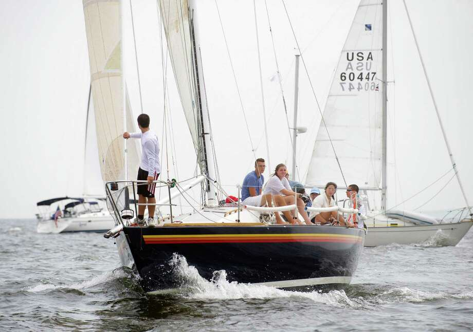 The Trouble Maker's from New Haven, Conn., competes in the 2013 Vineyard Race, which began from Stamford Yacht Club on Friday, August 30, 2013. Photo: Lindsay Perry / Stamford Advocate