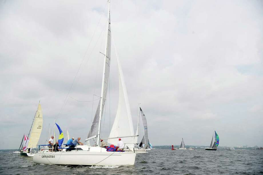 The crew of the Brooklyn, NY-based Udacha prepares to compete in the 2013 Vineyard Race beginning from Stamford Yacht Club on Friday, August 30, 2013. Photo: Lindsay Perry / Stamford Advocate