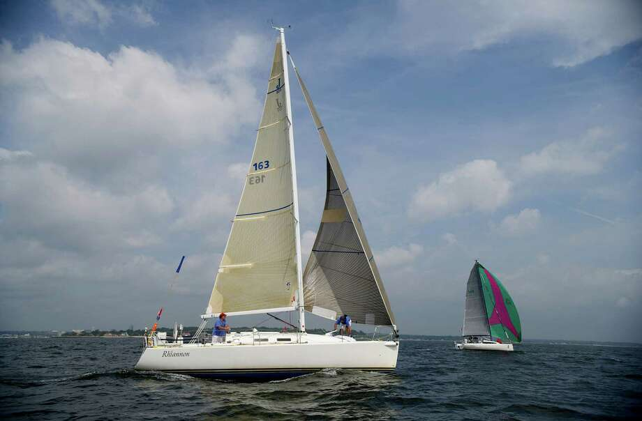 The Rhiannon III competes in the 2013 Vineyard Race, which began from Stamford Yacht Club on Friday, August 30, 2013. Photo: Lindsay Perry / Stamford Advocate