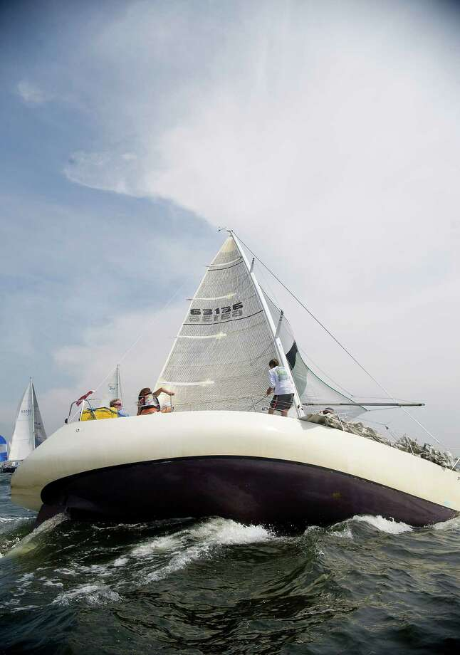 Shining Star from Cos Cob, Conn., competes in the 2013 Vineyard Race, which began from Stamford Yacht Club on Friday, August 30, 2013. Photo: Lindsay Perry / Stamford Advocate