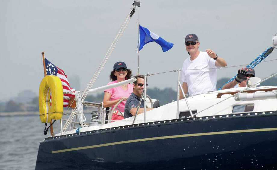 The crew of the Stamford-based Snappy prepares to compete in the 2013 Vineyard Race beginning from Stamford Yacht Club on Friday, August 30, 2013. Photo: Lindsay Perry / Stamford Advocate