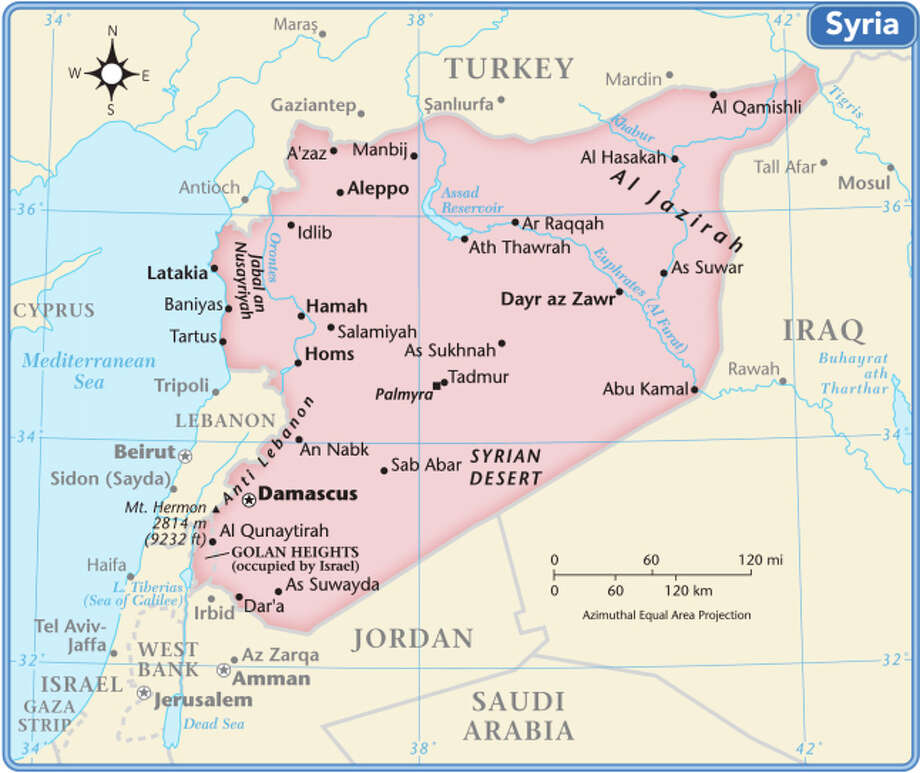 Syria is located in the Middle East, bordered by Lebanon and the Mediterranean Sea to the west, Iraq to the east, Turkey to the north and Jordan and Israel to the south. Photo: Globe Turner, LLC, Getty Images/GeoNova Maps / GeoNova Maps
