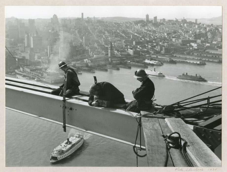 ''Men Working on I Beam, 1935,'' taken by famed photographer Peter Stackpole. The gelatin silver print is housed at the Collection of the Oakland Museum. Photo: Peter Stackpole, OMCA