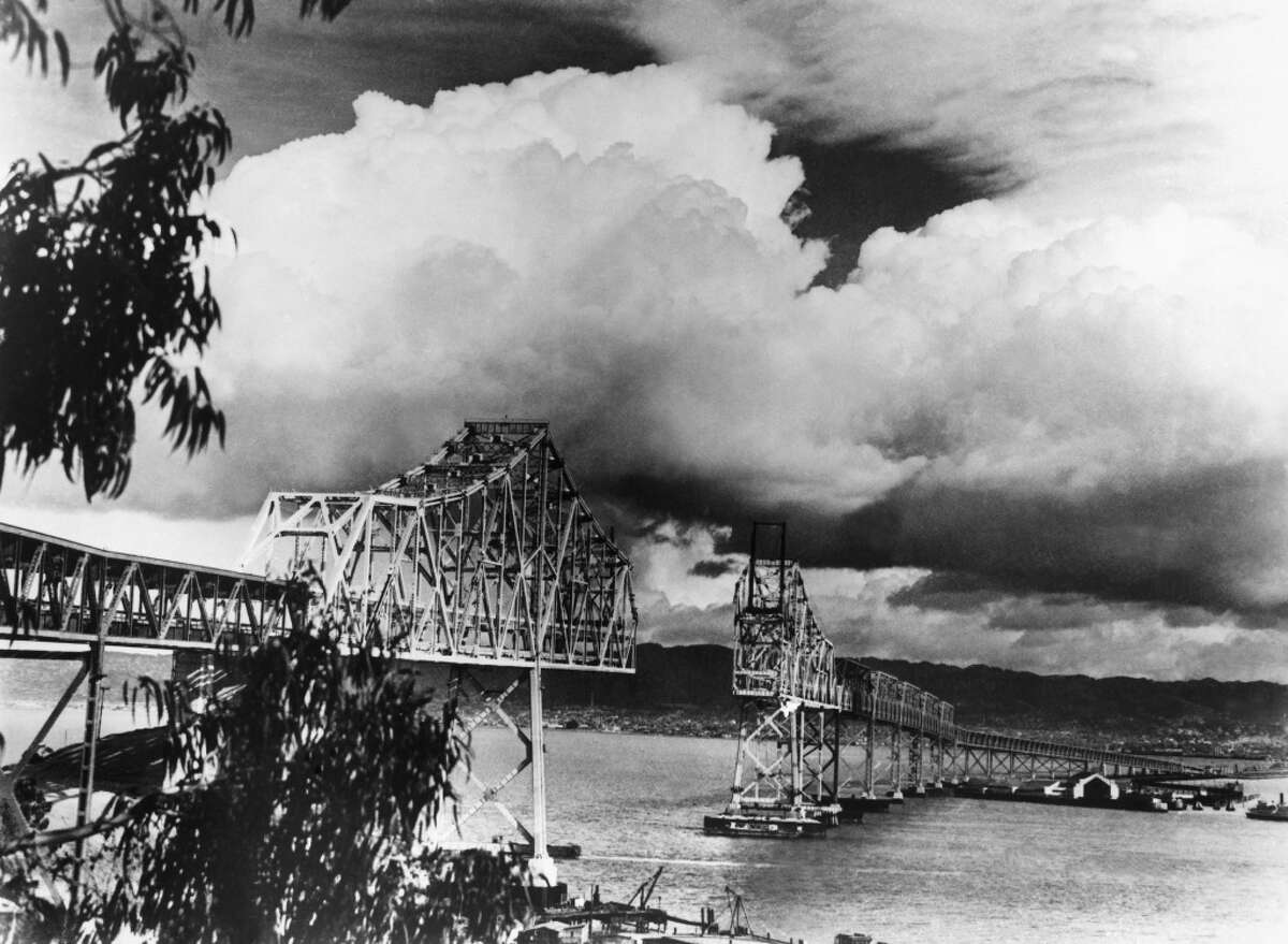 The construction of the Bay Bridge, nearly complete, on Feb. 3, 1936.