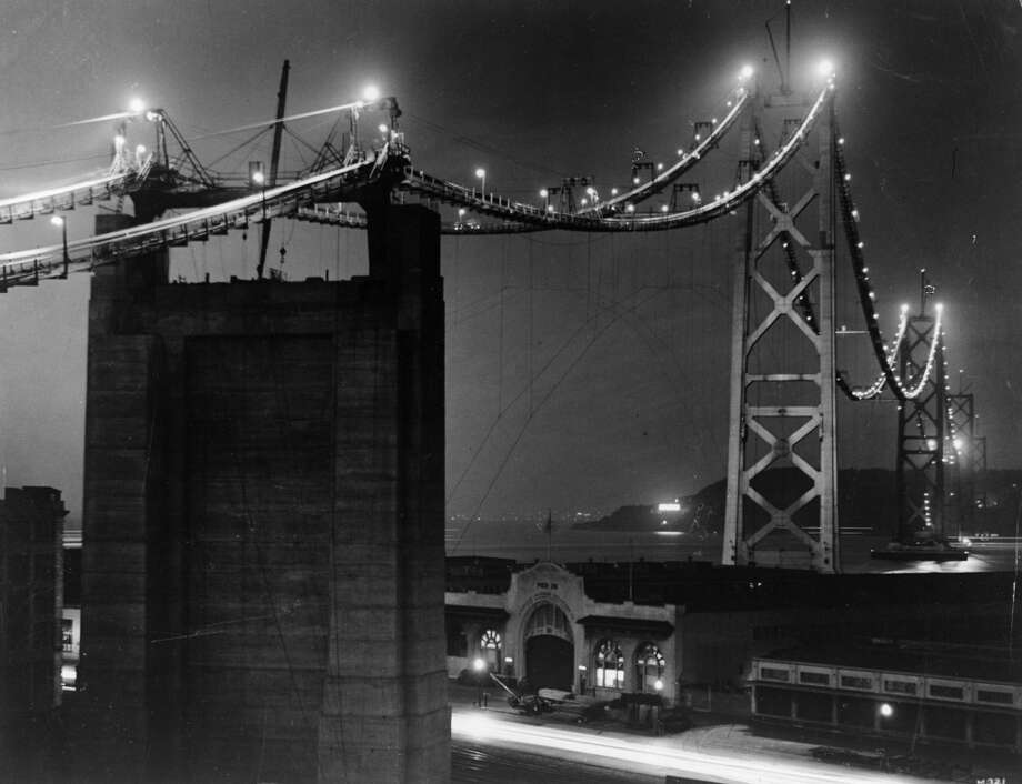 1934:  Work continues through the night on the construction of the San Francisco-Oakland Bay Bridge. Photo: General Photographic Agency, Getty Images