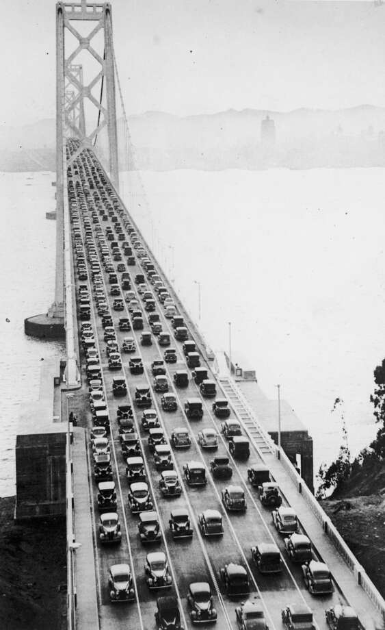Six streams of cars crossing the San Francisco-Oakland Bay bridge, shortly after the opening by President Franklin D. Roosevelt. Photo: Keystone, Getty Images