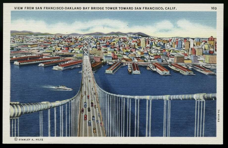 A 1930 postcard of the Bay Bridge. Photo: UniversalImagesGroup, Getty Images