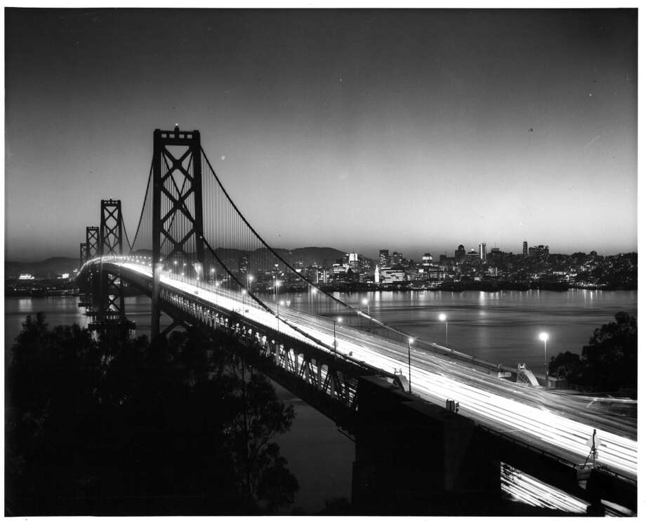 The western span of the Bay Bridge at night near San Francisco, California, 1955. Photo: American Stock Archive, Getty Images