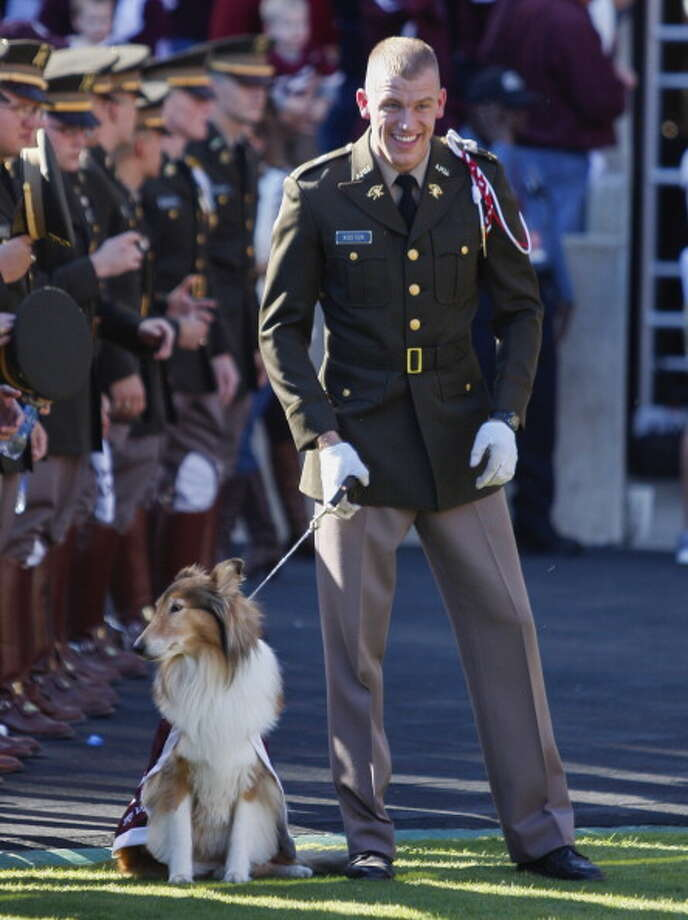 COLLEGE STATION, TX - NOVEMBER 17: Texas A&M Aggies mascot Reveille at Kyle Field on November 17, 2012 in College Station, Texas. (Photo by Bob Levey/Getty Images) Photo: Bob Levey, Getty Images / 2012 Getty Images