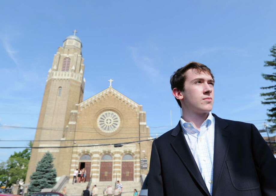 Greenwich High School senior, Blake Sherwyn, 16, after attending the funeral Mass for classmate, Bart Palosz, who committed suicide after attending the first day of classes as a sophomore at Greenwich High school, at the Holy Name of Jesus Roman Catholic Church in Stamford, Friday afternoon, Aug. 30, 2013. Sherwyn said he is starting an anti-bullying club at Greenwich High School. Photo: Bob Luckey / Greenwich Time