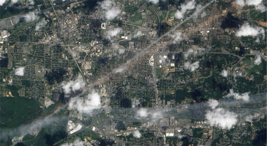 In April 2011, a tornado with wind speeds of 190 mph emerged in Tuscaloosa, Alabama. The tornado cut a path of around 80 miles, destroing homes and other buildings in its path. More than 1,000 people were injured and 65 were killed. (NASA)