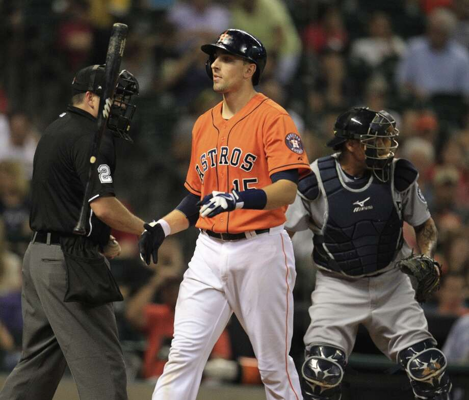 Jason Castro of the Astros reacts after striking out against the Mariners. Photo: Karen Warren, Houston Chronicle
