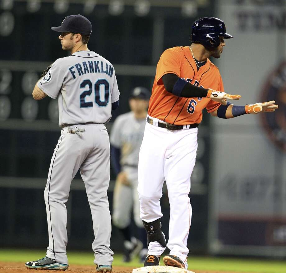 Jonathan Villar of the Astros stands on second base after hitting a double against the Mariners. Photo: Karen Warren, Houston Chronicle