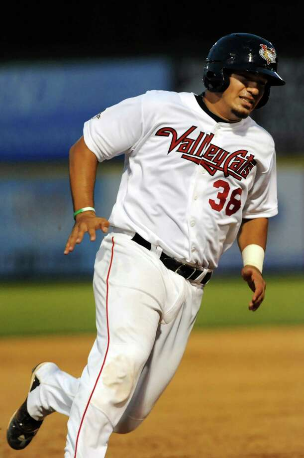 ValleyCats' Ernesto Genoves rounds third and heads for home during their baseball game against the Vermont Lake Monsters on Friday, Aug. 30, 2013, at Bruno Stadium in Troy, N.Y. (Cindy Schultz / Times Union) Photo: Cindy Schultz / 00023639A