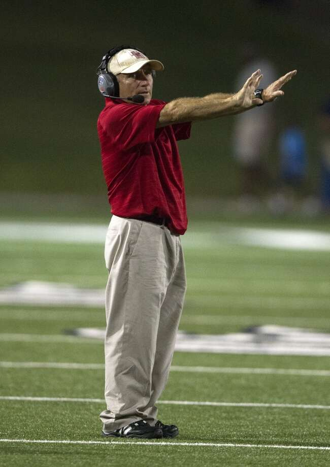 Memorial head coach Gary Koch walks the sidelines during a high school football game against Stratford at Tully stadium on Friday, Aug. 30, 2013, in Houston. ( J. Patric Schneider / For the Chronicle ) Photo: J. Patric Schneider, For The Chronicle