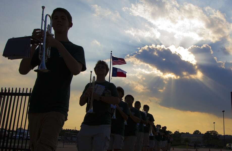 The Stratford band marches into Tully stadium on Friday, Aug. 30, 2013, in Houston. ( J. Patric Schneider / For the Chronicle ) Photo: J. Patric Schneider, For The Chronicle