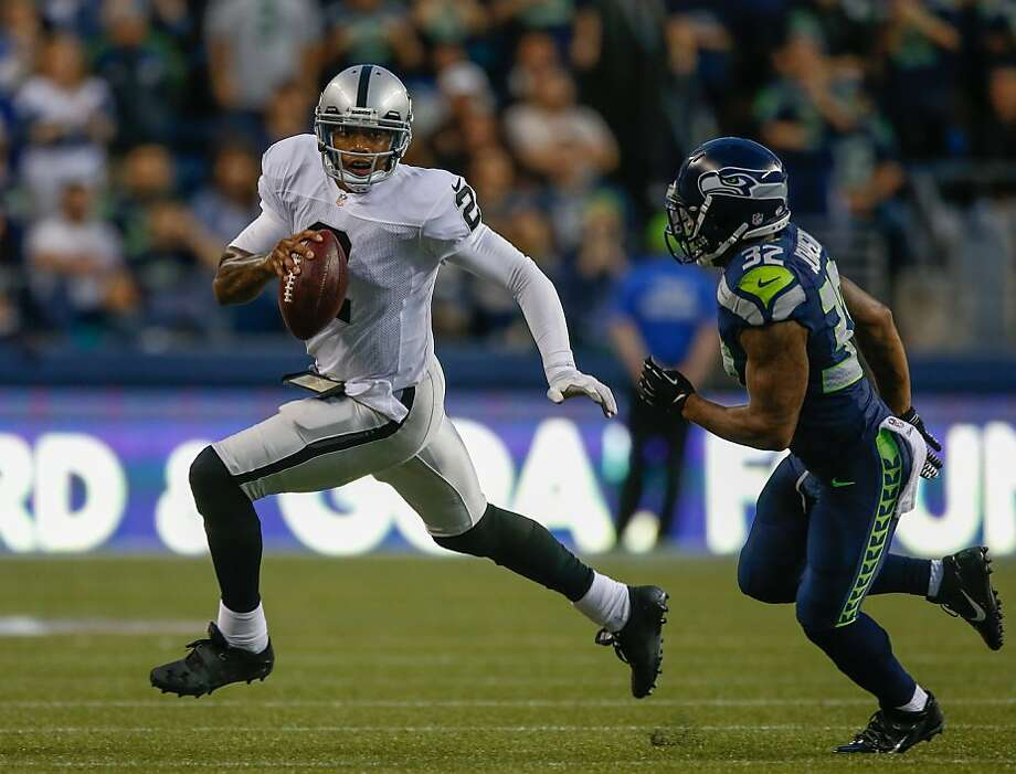 Terrelle Pryor has made plays this preseason, something his coach pointed to when discussing the Raiders' quarterbacks. Photo: Otto Greule Jr, Getty Images
