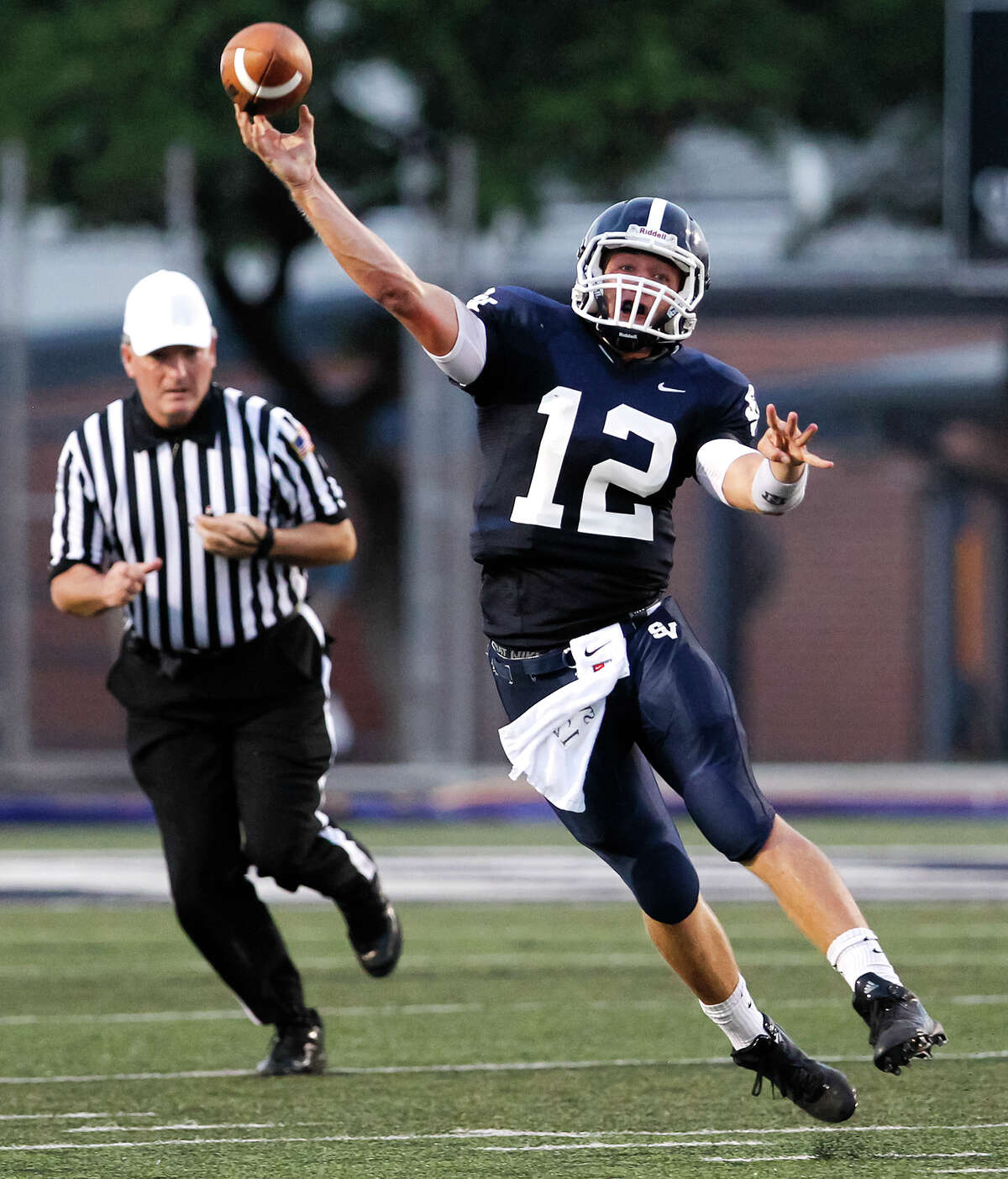 Smithson Valley quarterback Garrett Smith throws a pass during the first half of their game with Brandeis at Ranger Stadium on Friday, Aug. 30, 2013. Smithson Valley beat the Broncos 31-12. MARVIN PFEIFFER/ mpfeiffer@express-news.net