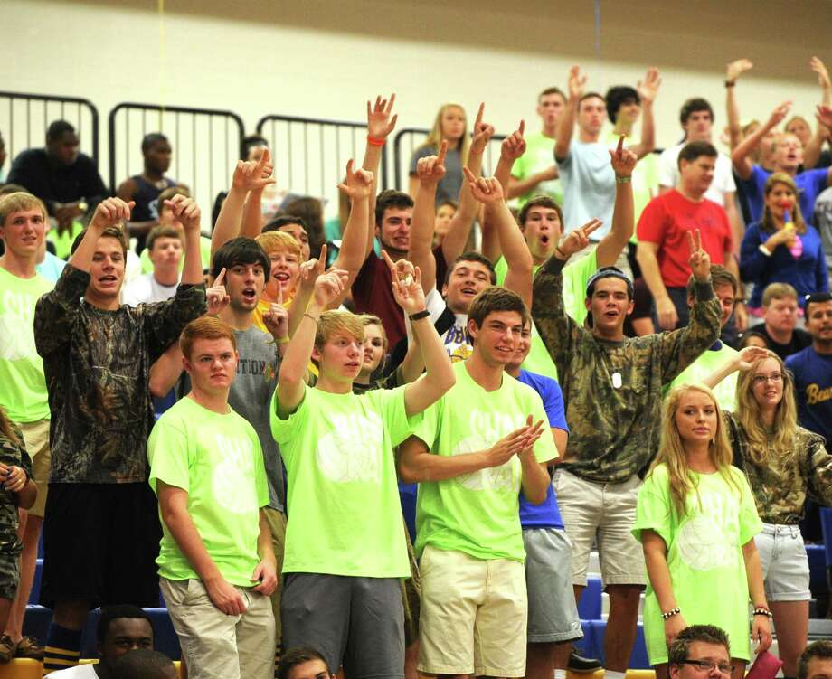 "Klein students, ""The Fish Hunters"" cheer for the Bearcats. Photo: Eddy Matchette, For The Chronicle / Freelance"