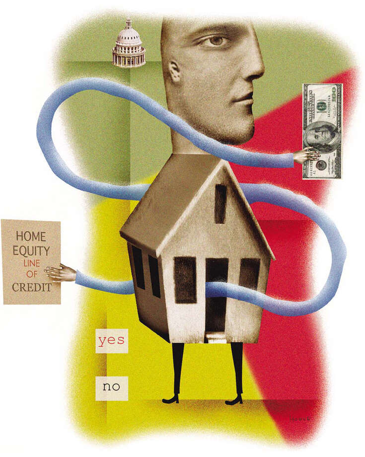 300 dpi 2 col x 4.75 in / 96x121 mm / 327x410 pixels Michael Hogue color illustration of a lender with his body as a house offering home equity lines of credit; his hands hold money, forms and government regulation. The Dallas Morning News 2003   KEYWORDS: krtbusiness business krtnational national krtnamer north america krtpersonalfinance personal finance krtrealestate real estate krtusbusiness u.s. us united states banco bank casa dinero equidad equity grabado hipoteca home ilustracion money mortgage negocios coddington hogue da contributed illustration finance 2003 krt2003 Photo: Michael Hogue /  KRT 2003