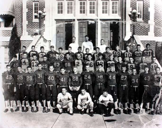 1932 Lamar football team back row, center, John Gray coach photo provided by Lamar Un iversity