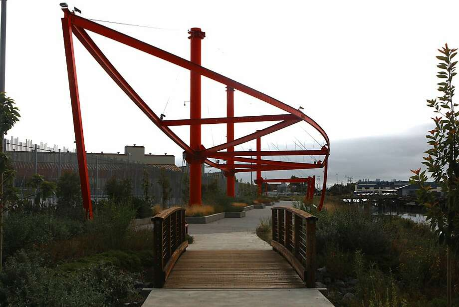 A large sculpture by Japanese artist Nobuho Nagasawa was recently dedicated in the park at Islais Creek, its structure meant to invoke the ghosts of ships built nearby. Photo: Liz Hafalia, The Chronicle
