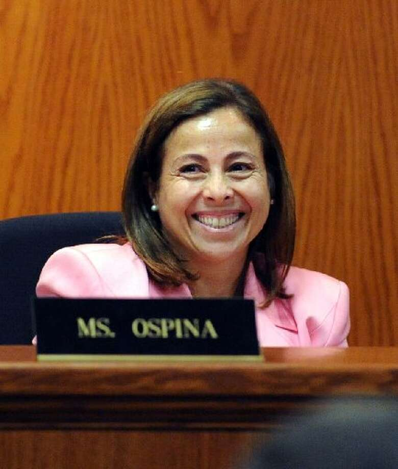 Greenwich Board of Education member Adriana Ospina during the board's meeting at Greenwich Town Hall, Thursday night, Aug. 30, 2012. Photo: Greenwich Time