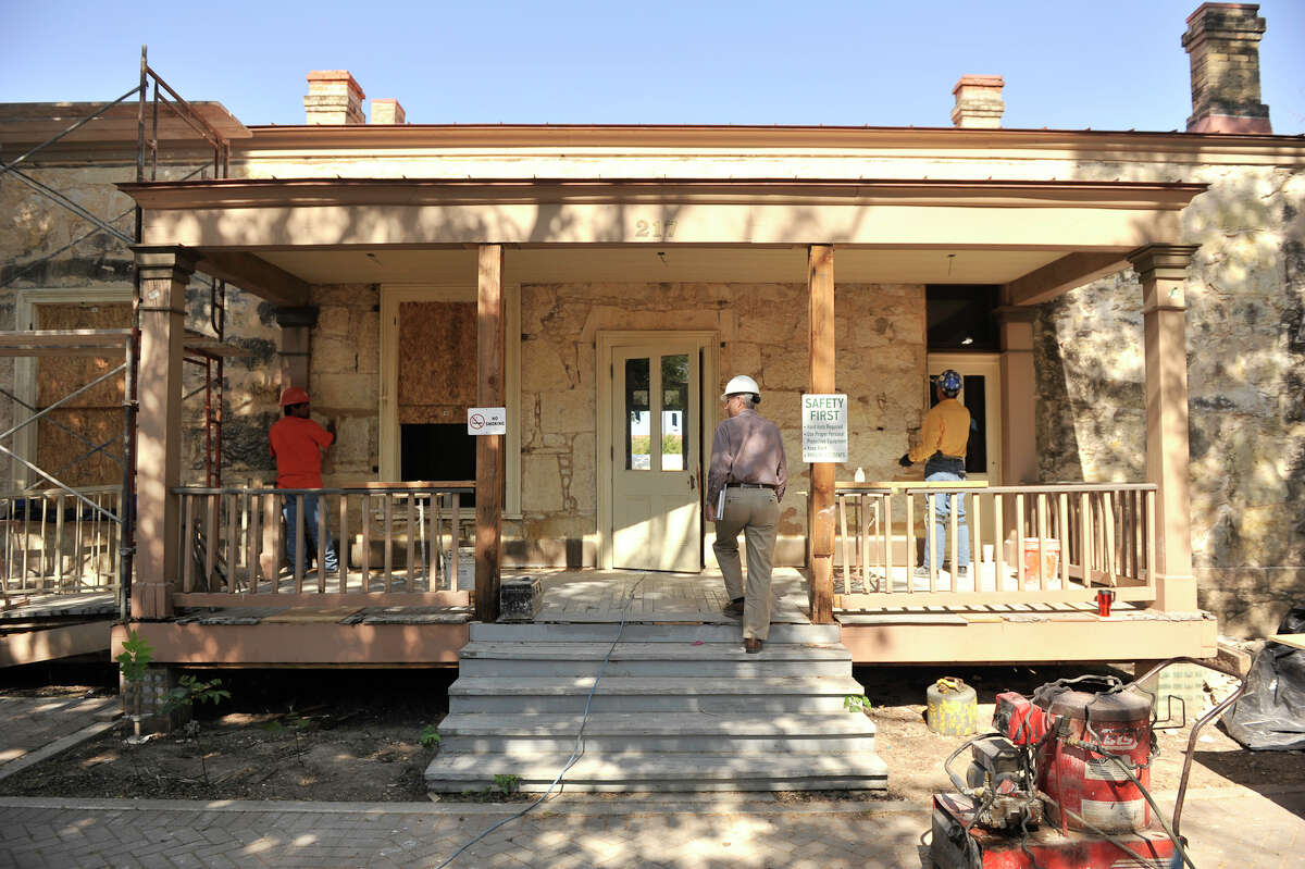 Work continues on the restoration of the Eagar House in HemisFair Park on April 19, 2012.